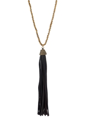 Zeus Dione Hematite Leather Tassel Necklace