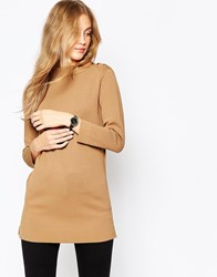 Asos Structured Knit Tunic With Button Up High Neck Tobacco