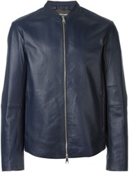Emporio Armani Zip Front Leather Jacket Blue