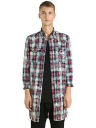 Diesel Black Gold Checked Bleached Poplin Long Shirt Multicolor