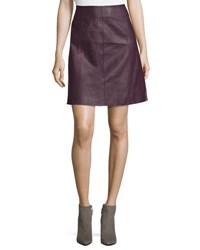 Tahari By Arthur S. Levine Faux Leather A Line Skirt Fig