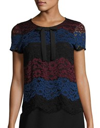 Karl Lagerfeld Short Sleeve Colorblocked Lace Blouse Black Wine