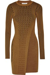 Opening Ceremony Ribbed Stretch Knit Dress Brown
