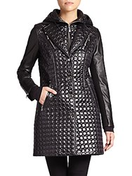Laundry By Shelli Segal Quilted Faux Leather Detail Jacket Black