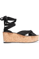 Jimmy Choo Norah Knotted Canvas Wedge Sandals Black