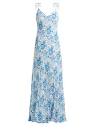 Athena Procopiou Kalua Bias Cut Maxi Dress Blue White
