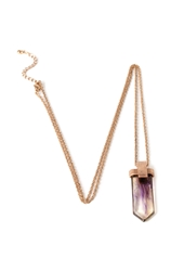 Forever 21 Faux Crystal Pendant Necklace Antic Gold Purple