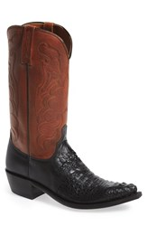 Men's Lucchese 'Beauford' Calfskin And Caiman Leather Snip Toe Western Boot
