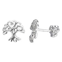 Nina B Sterling Silver Oak Tree Stud Earrings Silver