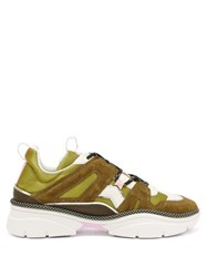 Isabel Marant Kindsay Suede And Canvas Panelled Trainers Khaki Multi