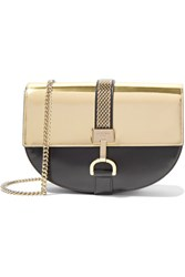 Lanvin Lien Metallic Paneled Leather Shoulder Bag Gold
