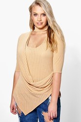 Boohoo Ava Cut Out Neck Drape Front Top Camel