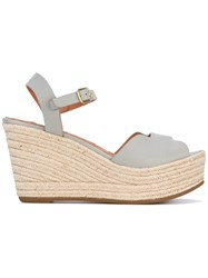 Chie Mihara Wedge Sandals Women Raffia Leather Rubber 36 Grey