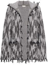 Saint Laurent Ikat Hooded Cardigan Cashmere Virgin Wool Linen Flax Spandex Elastane Grey