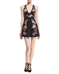 Marc Jacobs Floral Embroidered Sleeveless Fit And Flare Minidress Black