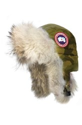 Canada Goose Women's Down Fill Aviator Hat With Genuine Coyote Fur Trim Camo Military Green