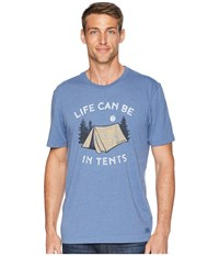 Life Is Good Can Be In Tents Crusher Tee Heather Vintage Blue T Shirt