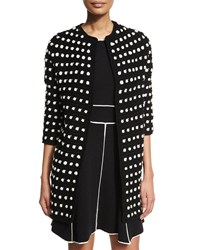 Lela Rose 3 4 Sleeve Two Tone Cocoon Cardigan Black Ivory