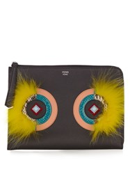 Fendi Leather And Fur Pouch Black Multi