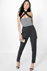 Boohoo Mono Stripe Zip Front Cross Over Jumpsuit Black