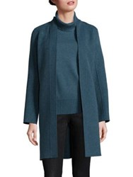 Eileen Fisher Open Front Wool Blend Coat Fir