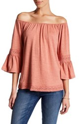 Cable And Gauge Off The Shoulder Bell Sleeve Blouse Petite Pink