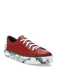Lanvin Graffiti Sole Calfskin Leather Sneakers Red