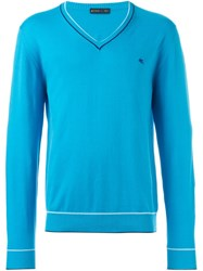 Etro Classic V Neck Sweater Blue