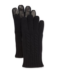 Bergdorf Goodman Cable Knit Cashmere And Leather Gloves Black