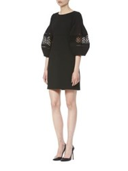 Carolina Herrera Puffed Sleeve Mini Dress Black