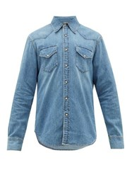 Acne Studios Trash Western Panelled Cotton Chambray Shirt Blue