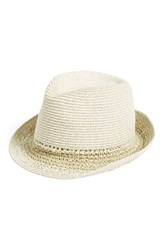 Women's Hinge Mixed Weave Trilby Hat Beige Natural Combo