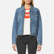 Levi's Women's Orange Tab Ot Zip Front Trucker Jacket Kauai Blue