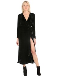 Attico Long Wrap Velvet Dress