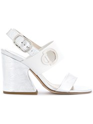 Christian Dior Chunky Heel Sandals White