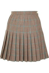 Off White Pleated Checked Wool Mini Skirt Brown