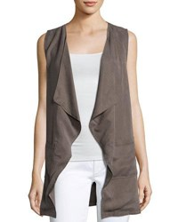 Bobeau Patch Pocket Woven Vest Brown