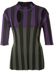 Nina Ricci Striped Cut Out Detail Blouse Women Polyamide Spandex Elastane Viscose Wool M Grey