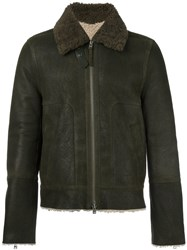 Closed Collar Detail Zipped Bomber Jacket Green