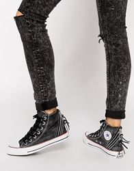 Converse All Star Tri Zip Sparkle Wash Hi Top Trainers Black