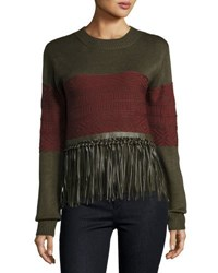 Moon River Faux Leather Trimmed Sweater Green