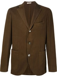Boglioli Herringbone Pattern Blazer Brown