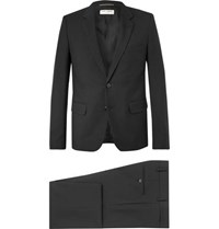 Saint Laurent Black Slim Fit Wool Gabardine Suit