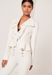 Missguided Ruffle Front Button Jacket Cream Cream