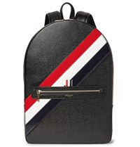 Thom Browne Striped Pebble Grain Leather Backpack Black