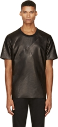 Blk Dnm Black Leather Angled Panel T Shirt