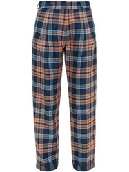 House Of Holland Baggy Tartan Trousers Blue