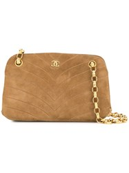 Chanel Vintage V Stitch Chain Shoulder Bag Brown