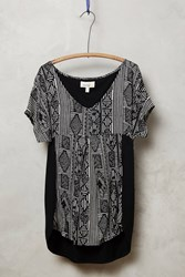 Porridge Elva Pleated Tee Black And White