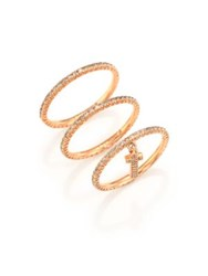 Lj Cross Champagne Diamond And 14K Rose Gold Cross Charm Ring Set